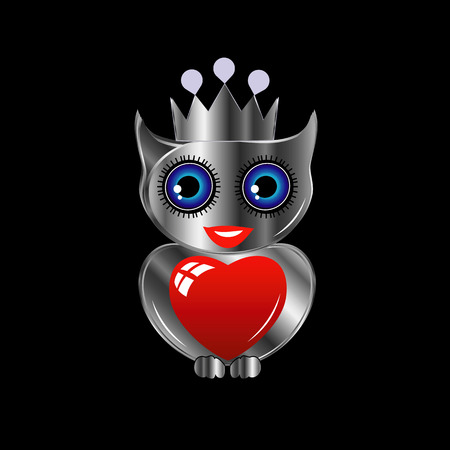 Pretty silver owl with a red heart and a crown 向量圖像