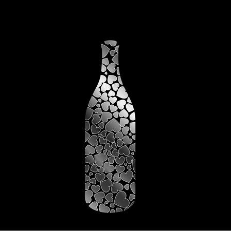 bottle with silver hearts Banco de Imagens - 26316454