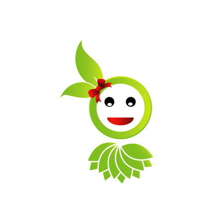 Happy smiley with green leaves