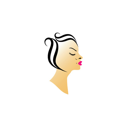 pouty: Vintage Hairstyle short hair Illustration