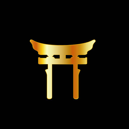 torii: Golden Torii Gate- Shintoism Illustration