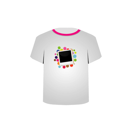 tees graphic tees t shirt printing: T Shirt Template with photo symbol Illustration
