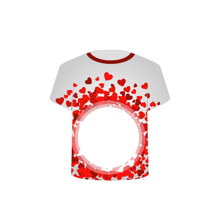 T Shirt Template with valentine hearts Vector