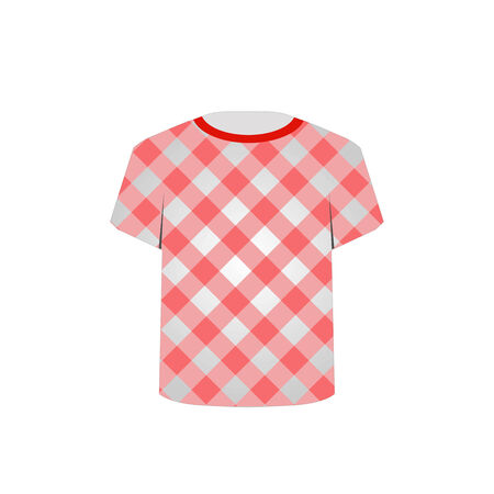 gingham pattern: T Shirt Template with Gingham pattern Illustration