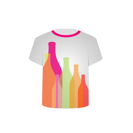 shopping champagne: T Shirt Template with colorful bottles