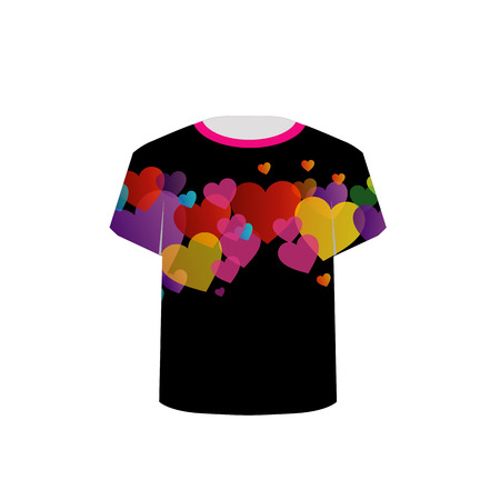 tees graphic tees t shirt printing: T Shirt Template with Colorful Hearts Illustration
