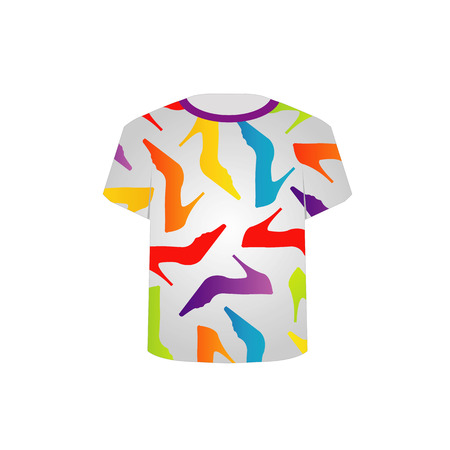 T Shirt Template with colorful shoes Vector