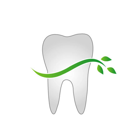 fluoride: Tooth with green leaves