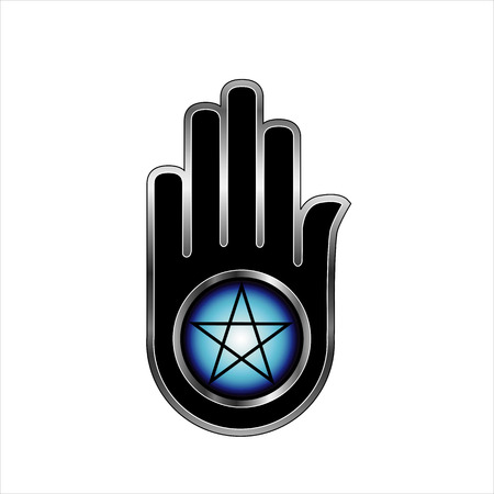 satanism:  Hand with a Pentacle Illustration