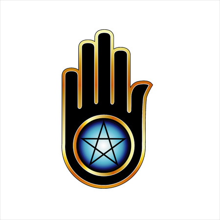ahimsa:  Hand with a Pentacle Illustration