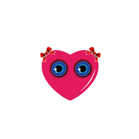 lowbrow: A heart with blue eyes and red bow
