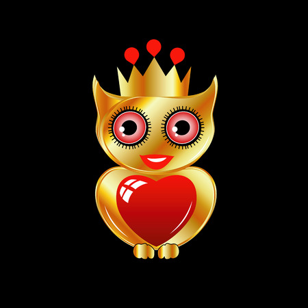 Pretty golden owl with a red heart and a crown 向量圖像