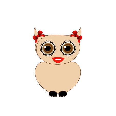 Pretty owl with red bow 向量圖像