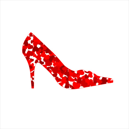 Shoe with red hearts