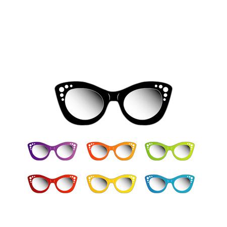 ojo de gato: Gafas de ojo de gato de la vendimia para damas Vectores