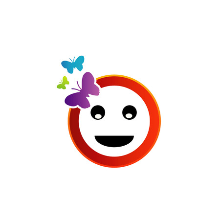 Happy smiley with butterfly Vector