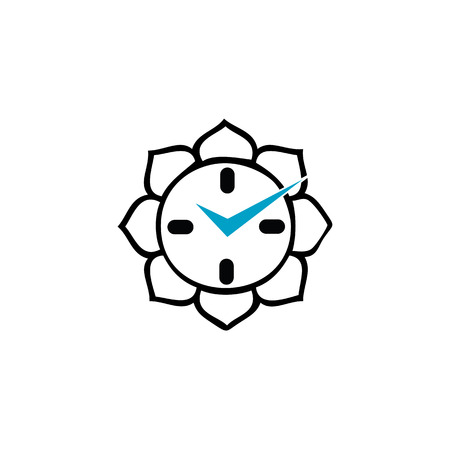 Clock with Buddhist lotus Vector