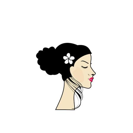 woman with a bun Ilustração