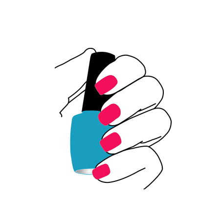 Nails with a nail polish in hand Vector