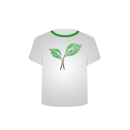 T Shirt Template- sketched seedling Illustration