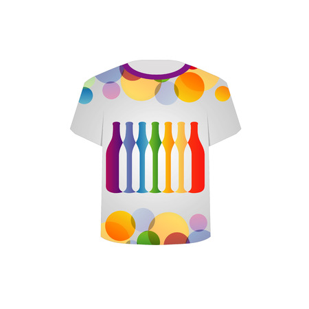 T Shirt Template- colorful bottles and circles Vector