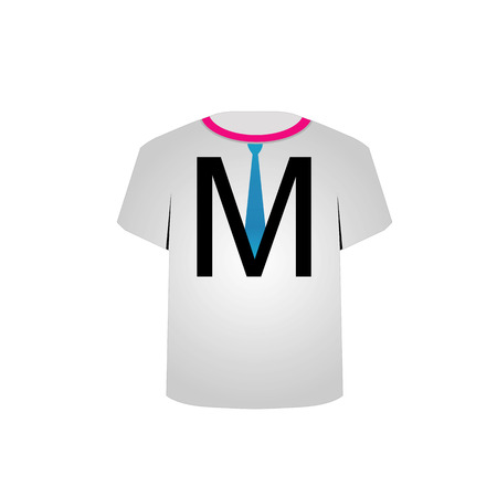 T Shirt Template- letter M with a tie Vector