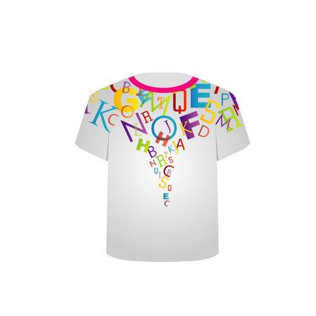 T-Shirt-Vorlage Bunte Buchstaben Standard-Bild - 26466576