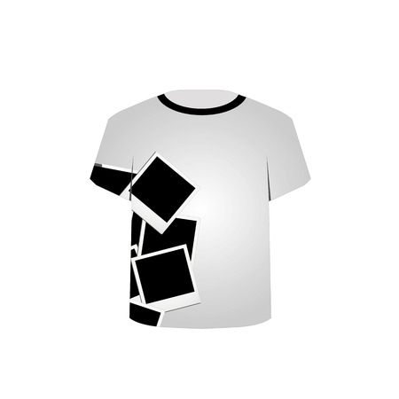 T Shirt Template-Polaroid collage Vector