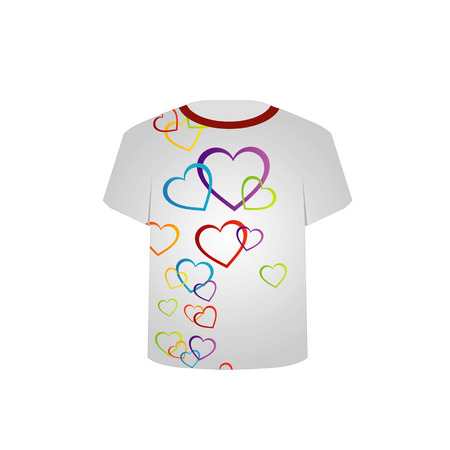 tees graphic tees t shirt printing: T Shirt Template- Colorful Hearts Illustration