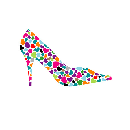 Shoe with colorful hearts 向量圖像