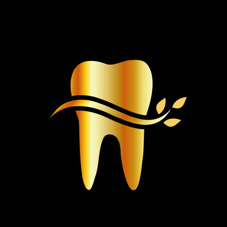 Golden Tooth with leaves Vector