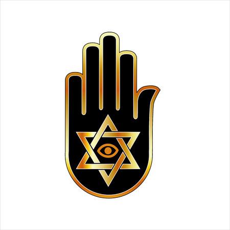 reiki: Illustrazione per psichico o indovino-Stella di David su ahimsa mano
