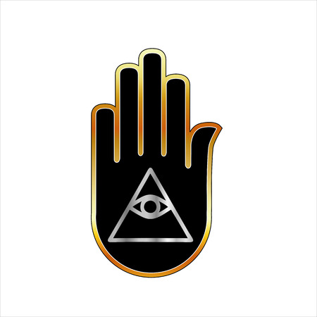 third eye: Eye of Providence in hand- religious symbol