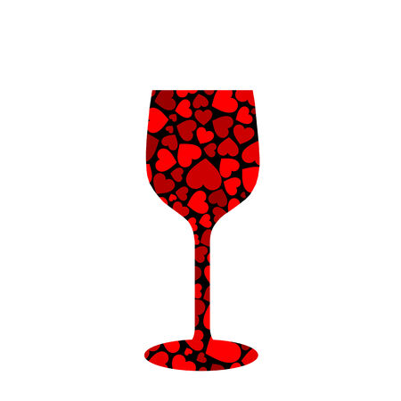 glass with red hearts Vector