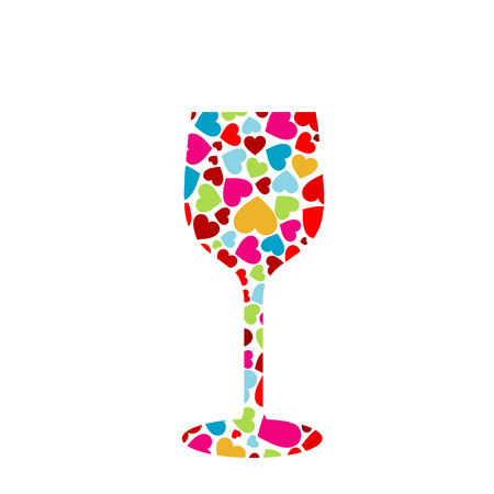 glass with multicolor hearts Vector