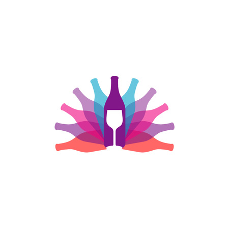 bottle of wine and spirits Vector