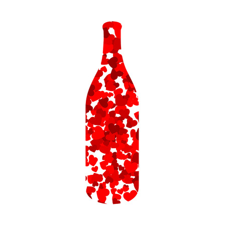 bottle with red hearts