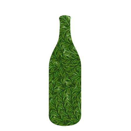 bottle with green grasses 向量圖像