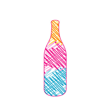 Bottle with colorful sketches
