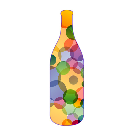 rainbow cocktail: bottle with colorful dots Illustration