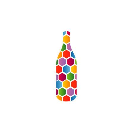 bottle with colorful honeycomb Ilustração