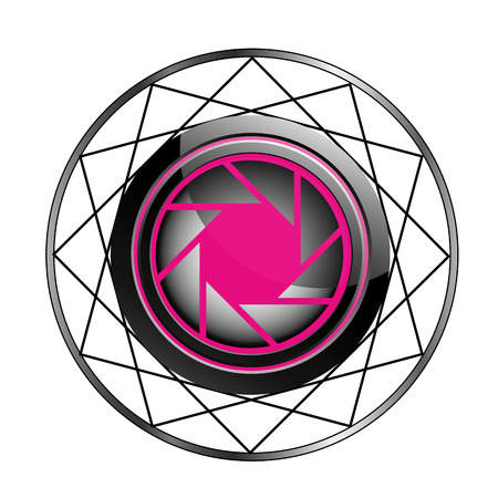 Stylized photography logo in pink and black Çizim