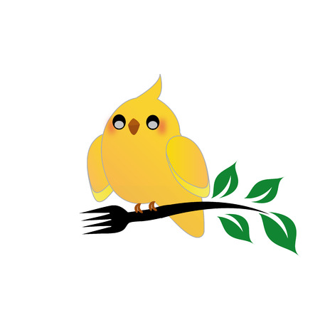 avian flu: Cute cockatiel holding a fork