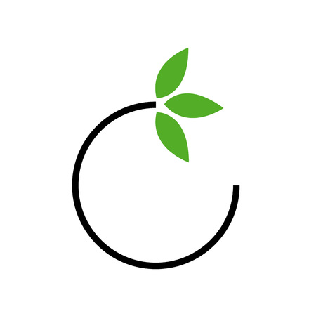 fertile: Eco friendly business icon with green leaves  Illustration
