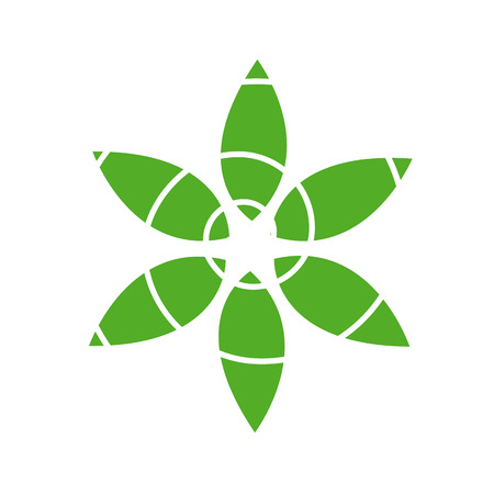 Eco friendly business icon with green leaves  Illustration
