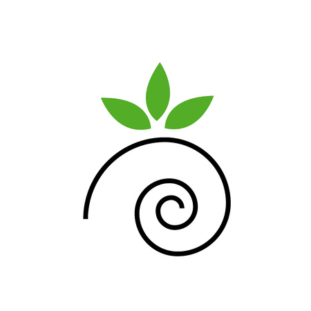 Abstract snail withgreen leaves