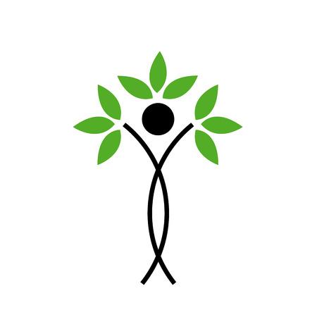 figura humana: Figura humana con el concepto verde ecol�gico hojas-Extracto