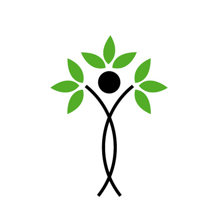 Human figure with green leaves- Abstract ecological concept  Illustration