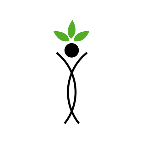spring balance: Human figure with green leaves - Abstract ecological concept  Illustration