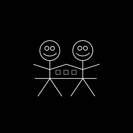 happy couple at home: Two happy stick figures with house